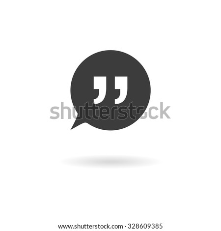 Isolated dark grey icon for speech bubbles with quotes (talk, dialog, chat, opinion, contact, conversation, forum, message, ...) on white background with shadow - stock vector