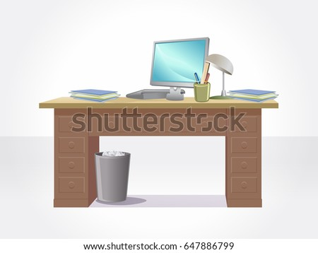Isolated desk with notebook.