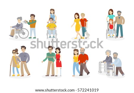 Isolated Disability Set On White Background. Disabled People With  Relatives, Assistants And Nurses.