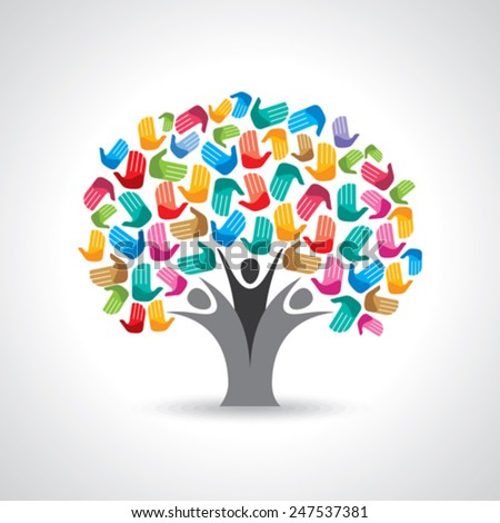Isolated diversity tree hands illustration. - stock vector
