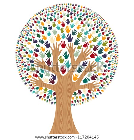 Isolated diversity tree hands illustration for greeting card. Vector file layered for easy manipulation and custom coloring.