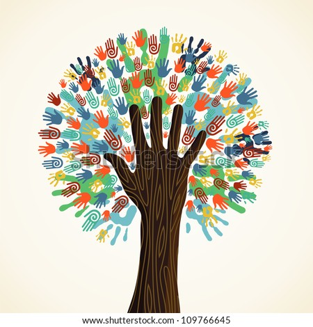Isolated diversity tree hands illustration. Vector file layered for easy manipulation and custom coloring. - stock vector