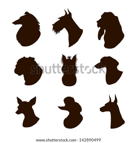 Isolated dogs silhouettes - stock vector