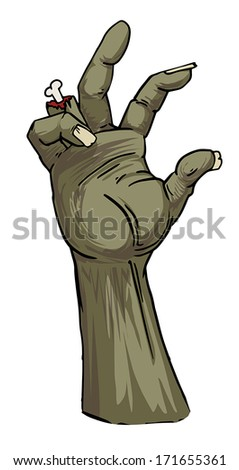 isolated, drawn Zombie hand, vector illustration - stock vector