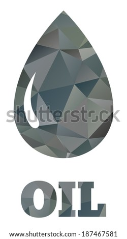 Isolated drop of oil made of triangles - stock vector