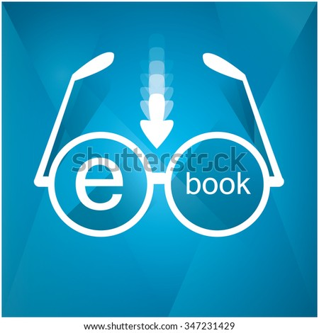 Isolated e-book icon on a blue background with texture - stock vector