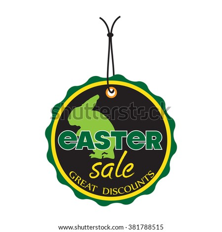 Isolated Easter sale tag with rabbit silhouette - stock vector