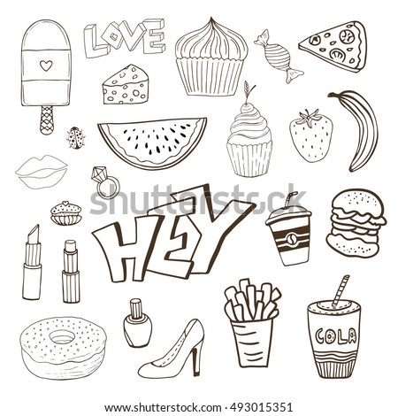 Isolated elements with sweets food and girly elements. Vector doodle funny badges. Modern clip art. Cartoon line icons