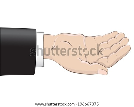 isolated empty human hand with black suit sleeve vector illustration