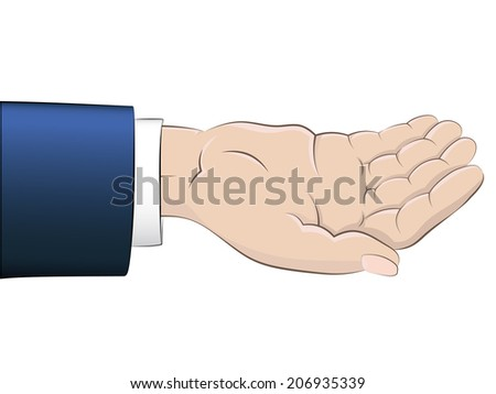 isolated empty human hand with blue sleeve vector illustration