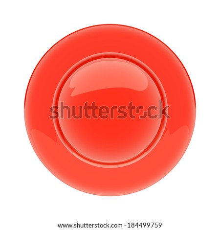 Isolated empty red plate on white background