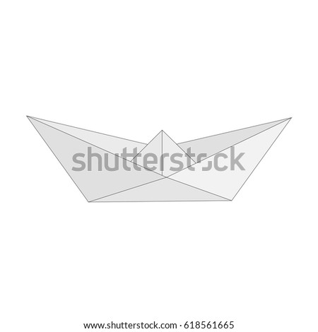 Isolated figure of boat, ship folded from white paper in origami style on white background