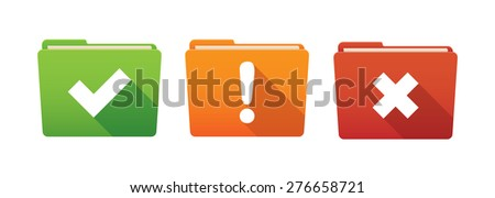 Isolated file folder icon set with survey signs - stock vector