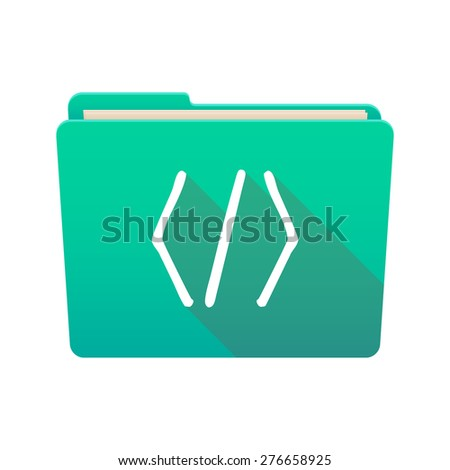 Isolated file folder icon with a code sign - stock vector