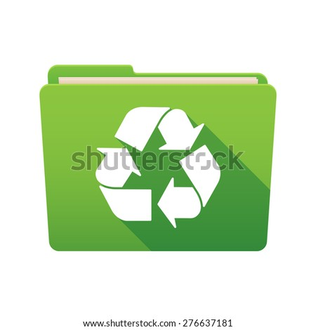 Isolated file folder icon with a recycle sign - stock vector