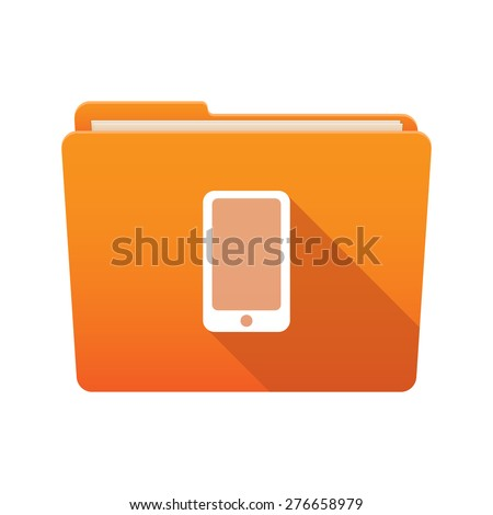 Isolated file folder icon with a smart phone - stock vector