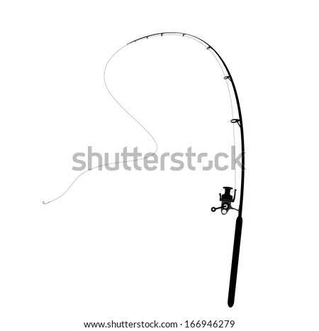 isolated fishing rod  - stock vector
