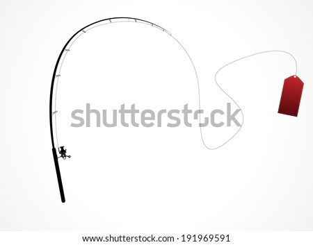 isolated fishing rod label - stock vector