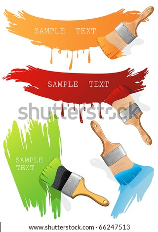 Isolated flat brush leaving a horizontal and vertical trail of green, red and orange paint over a white wall. Paint Brush. Stylish bright Vector Illustration. - stock vector