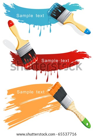 Isolated flat brush leaving a horizontal trail of blue, red and orange paint over a white wall. Paint Brush. Stylish bright Vector Illustration. - stock vector
