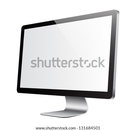 Isolated flat screen with white picture to overlay