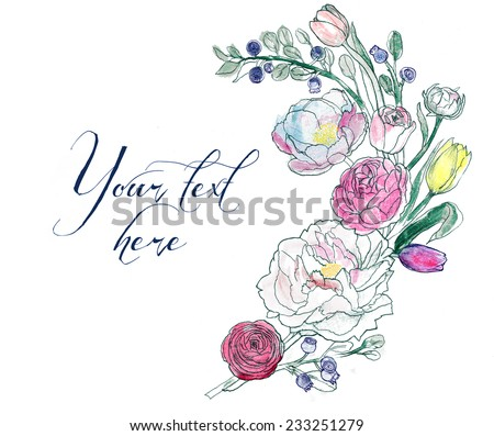 Isolated floral vintage rose, tulip, peony, banner set - stock vector