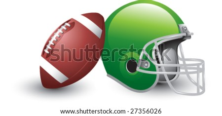 isolated football and helmet - stock vector