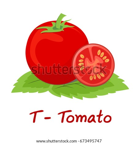 Isolated Fruit Alphabet For The Kids T Tomato