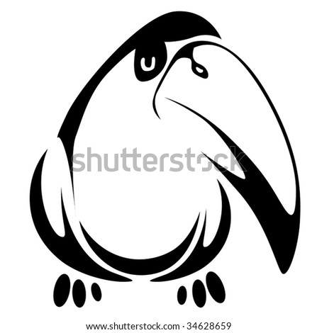 Isolated fun toucan cartoon bird on background as a symbol - abstract emblem or logo template. White and black silhouette - stock vector