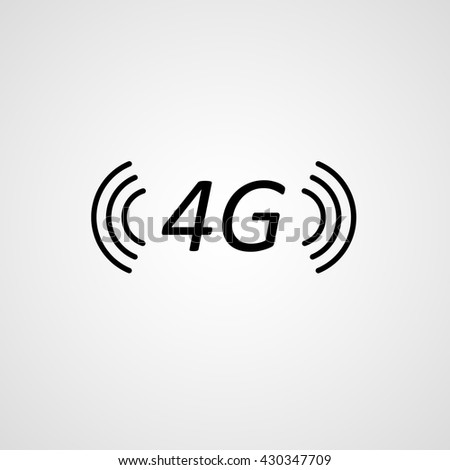 isolated 4G GSM fast internet network connection vector sign, coverage icon - stock vector