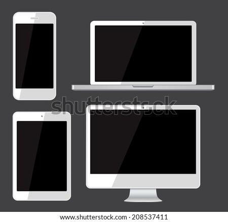 Isolated gadgets cell phone, tablet, laptop and pc.  Vector illustration.  - stock vector