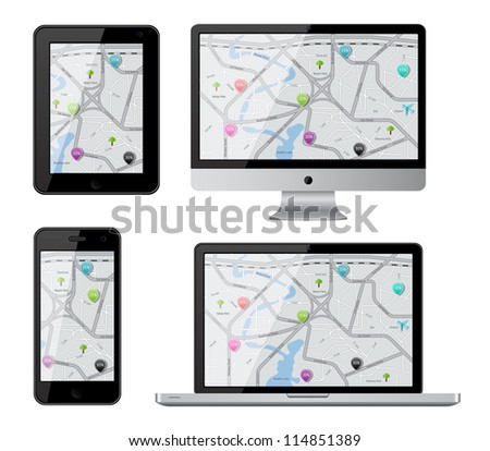 Isolated gadgets with street map. EPS10 vector illustration. - stock vector