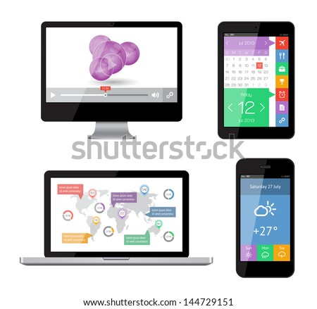 Isolated gadgets with ui and web elements including flat design. EPS10 vector illustration. - stock vector