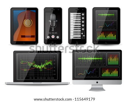 Isolated gadgets with with infographics elements. EPS10 vector illustration. - stock vector