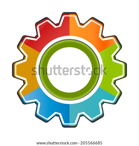 Isolated gear chart  icon six components  - stock vector