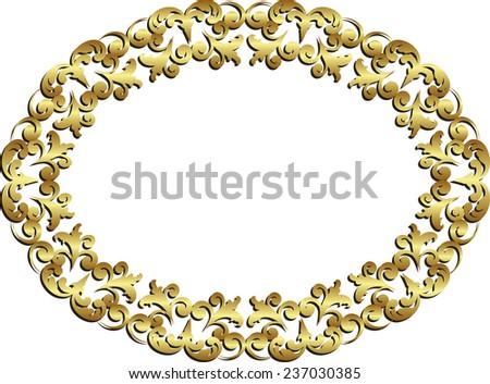 isolated golden frame  - stock vector