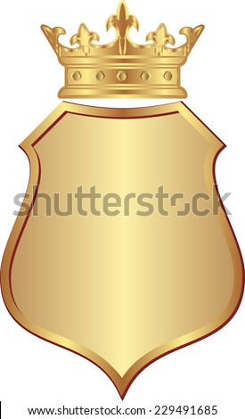 isolated golden shield with crown - stock vector