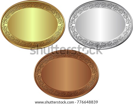 isolated golden, silver and bronze medal