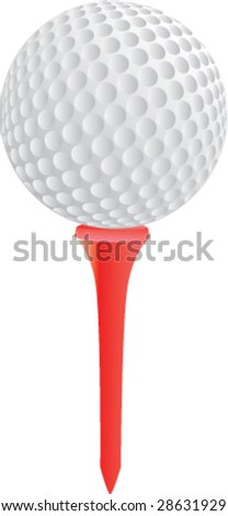 isolated golf ball on tee - stock vector