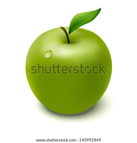 Isolated green apple on white background with droplet. Vector illustration. - stock vector