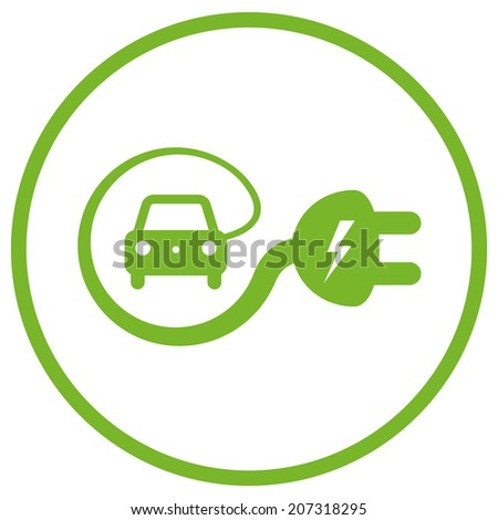 Isolated green electric car icon  - stock vector