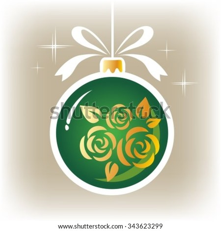 Isolated green floral ornate Christmas ball on a gray background. - stock vector