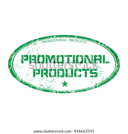 Isolated green grunge rubber oval stamp with the text promotional products written inside the stamp