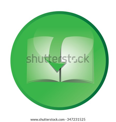 Isolated green label with an e-book icon on a white background - stock vector