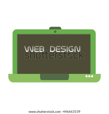 Isolated green laptop with the text web design written on its screen - stock vector