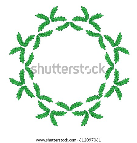 Isolated Green Leaf Frames On White Stock Vector 612097061 ...