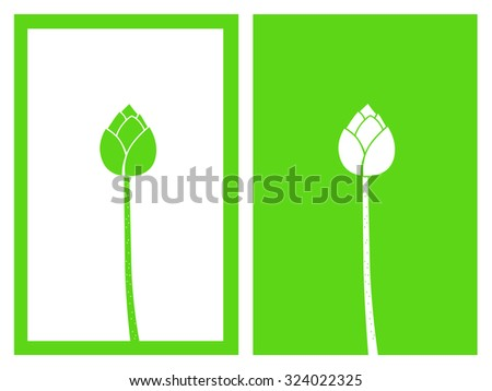 isolated green lotus buds,vector illustration - stock vector