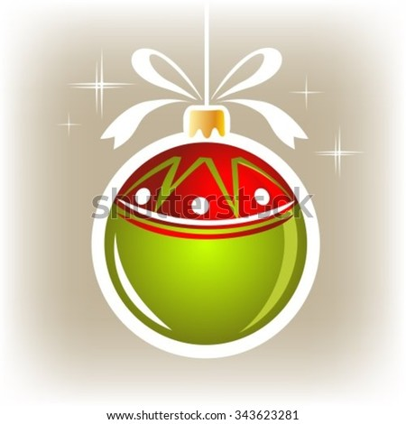 Isolated green-red Christmas ball on a gray background. - stock vector