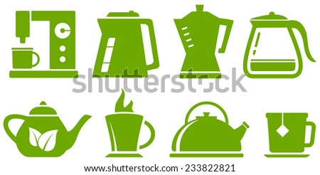 isolated green set with percolator, teapot and cup - stock vector