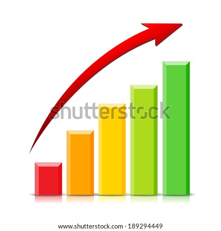 Isolated Growing Graph on white background